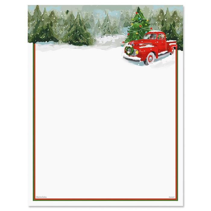 Red Truck Christmas Letter Papers