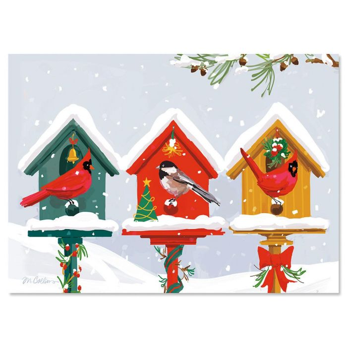 Holiday Birdhouse Christmas Cards - Personalized