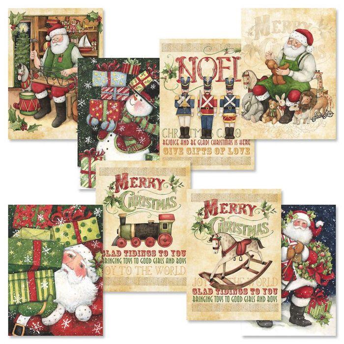 Retro Santa Christmas Cards Value Pack