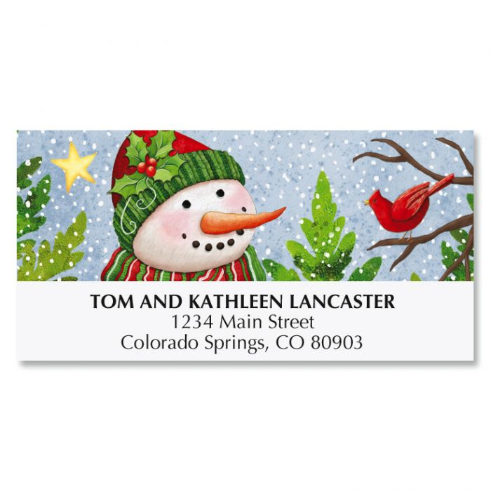 Snowman with Cardinals Deluxe Address Labels