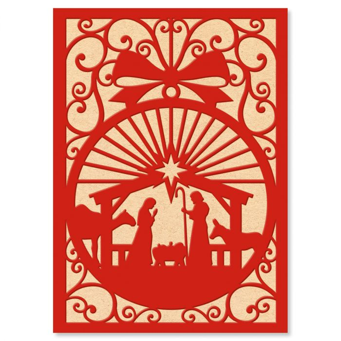 Red and White Manger Christmas Cards