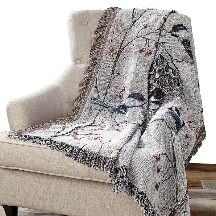 Birdhouse & Chickadees Decorative Throw