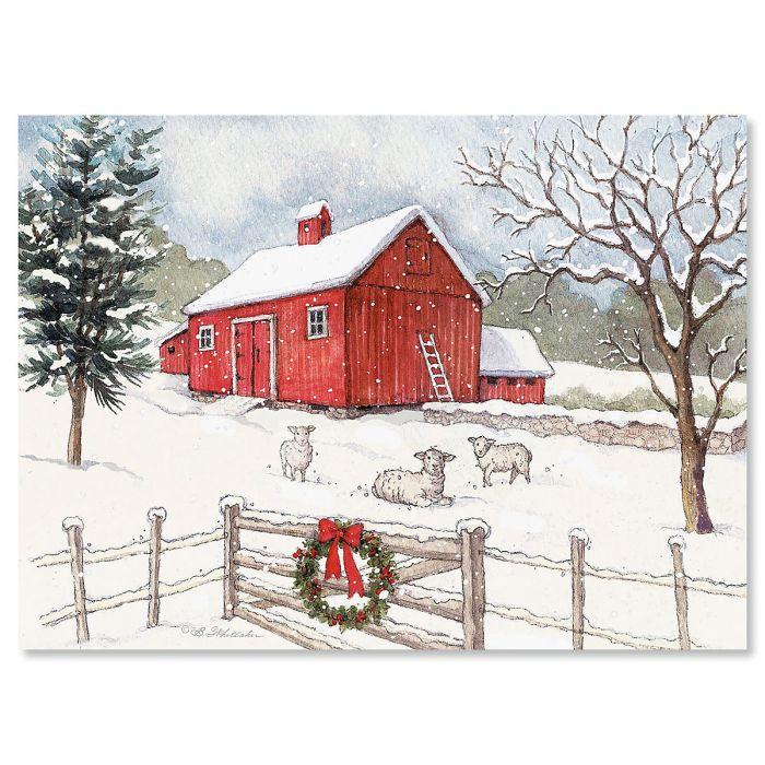 Country Barn Christmas Cards