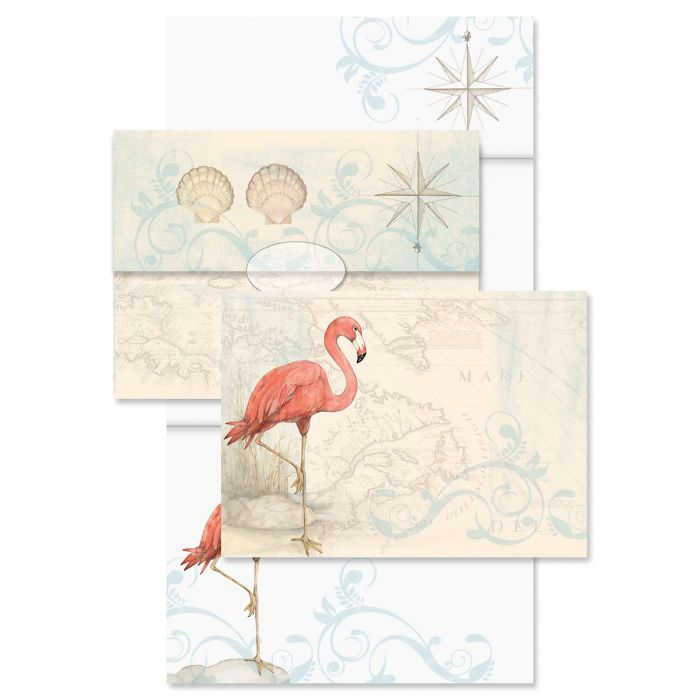Flamingo Just-a-Note™ Cards with Seals