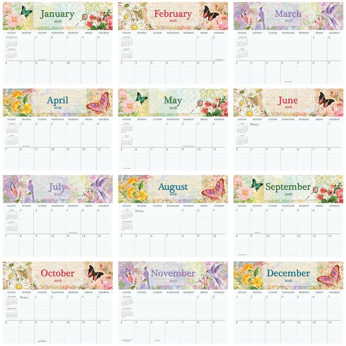 2019 Watercolor Big Grid Planning Calendar