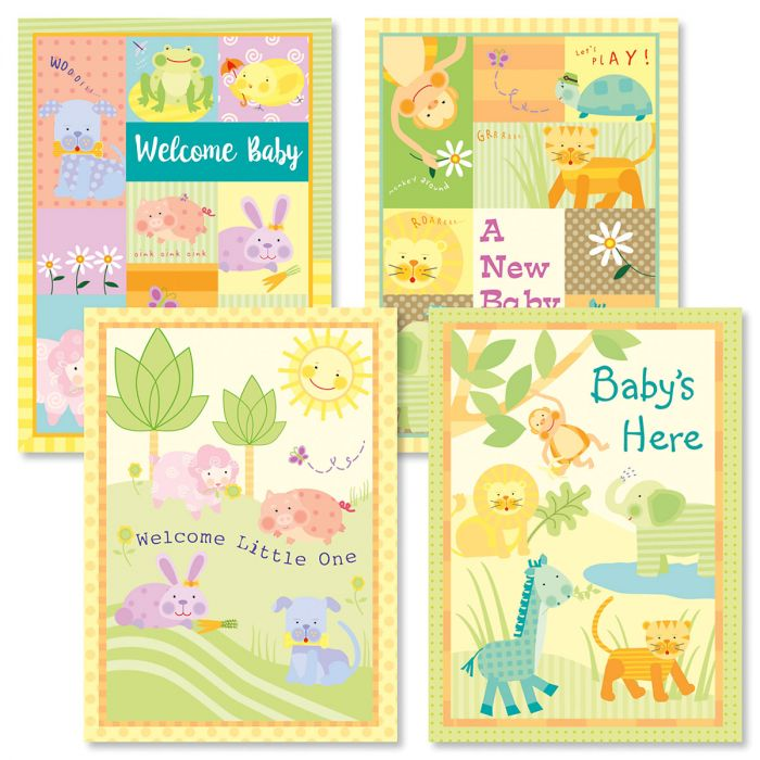 Baby's Here Baby Cards and Seals