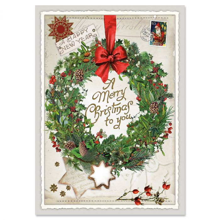 Wreath Collage Christmas Cards - Nonpersonalized