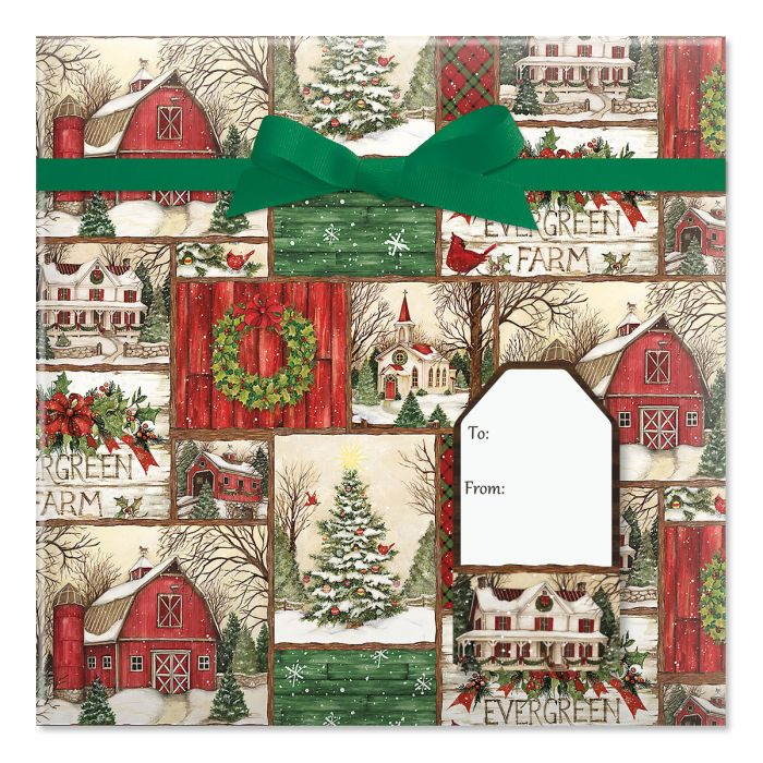 Evergreen Christmas Jumbo Rolled Gift Wrap and Labels