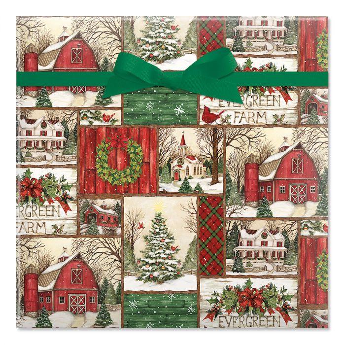 Evergreen Christmas Jumbo Rolled Gift Wrap