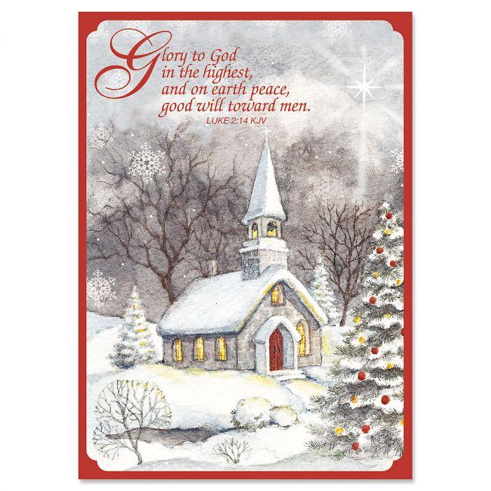 Snowy Church Religious Christmas Cards