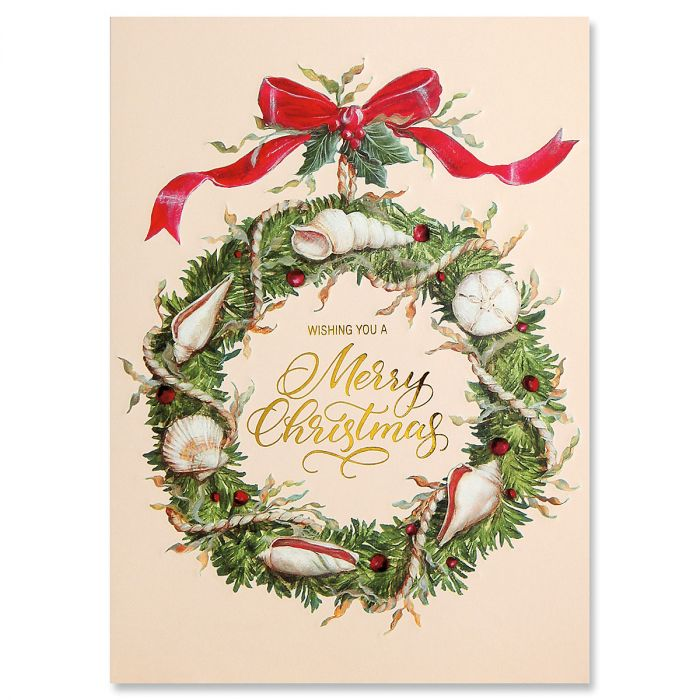 Shell Wreath Ultra-Deluxe Christmas Cards