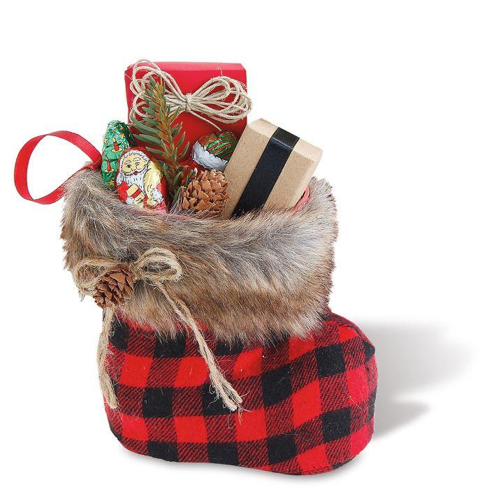 Santa Boot Vase with Faux Fur