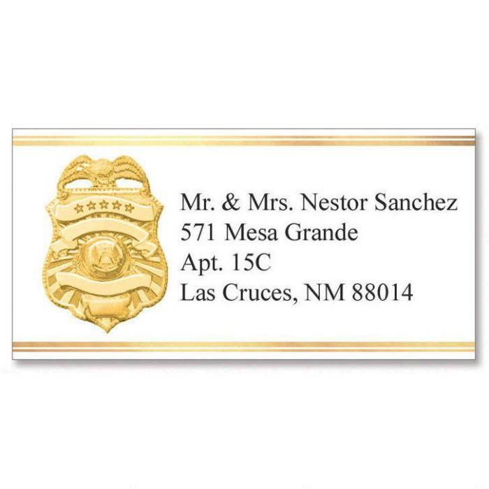 Badge of Honor Foil Border Address Labels