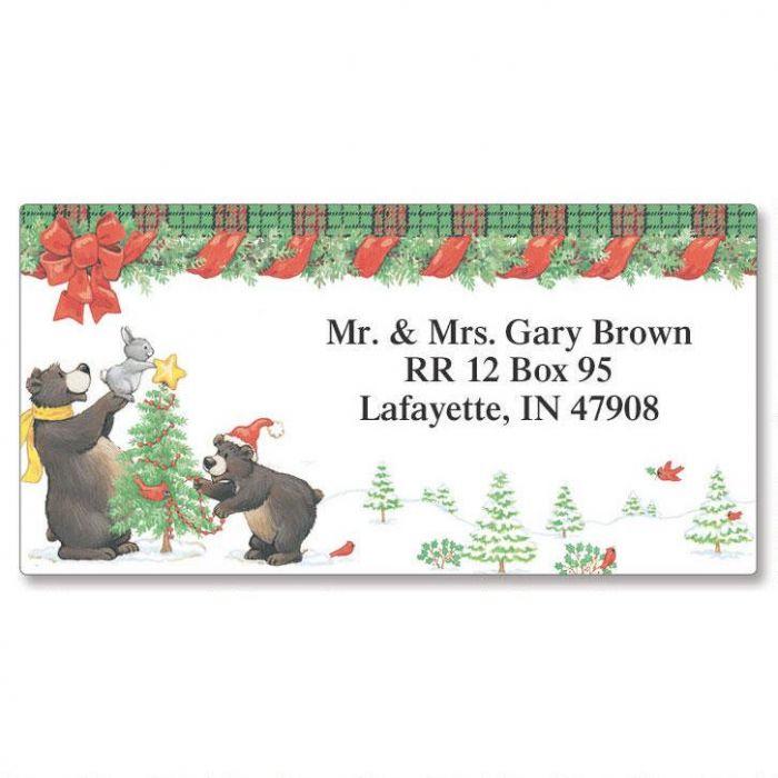 Black Bears Border Address Labels