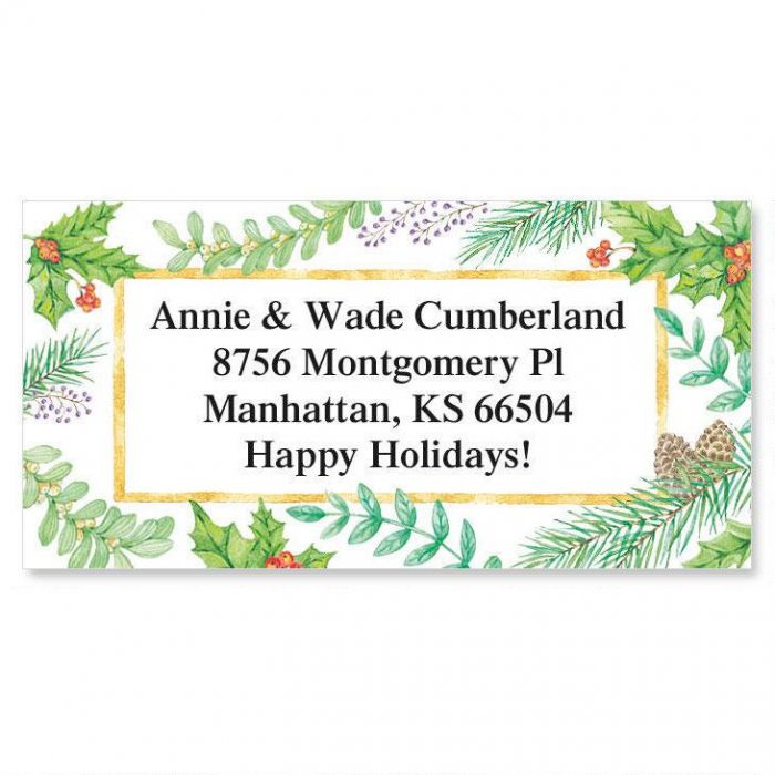 Christmas Greenery Border Address Labels
