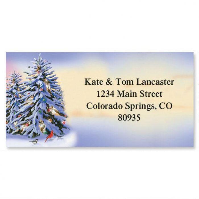Winter Silver Border Address Labels