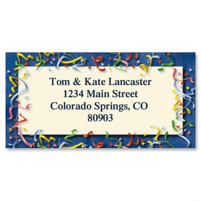 Confetti Border Address Labels
