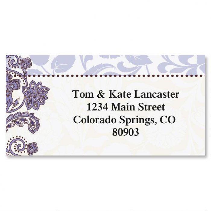 Lavender Brocade Border Address Labels