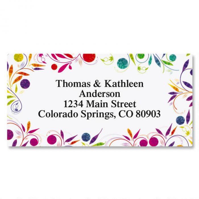 Color Swirl Border Address Labels