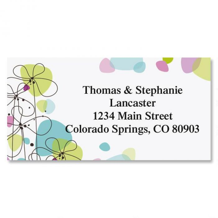 Sketched Flowers Border Address Labels