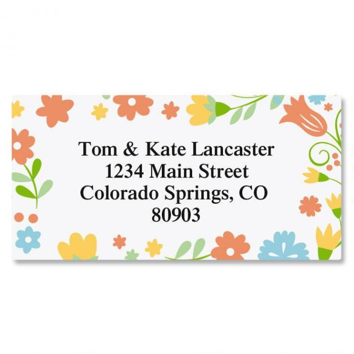 Floral Stencil Border Address Labels