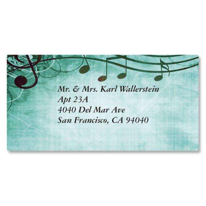 Sheet Music Aqua Border Address Labels