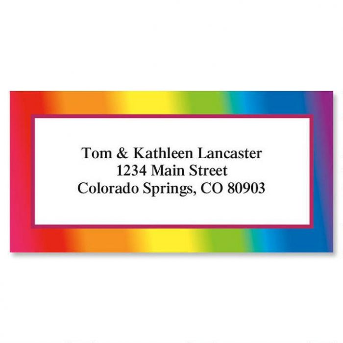 Rainbow Border Address Labels