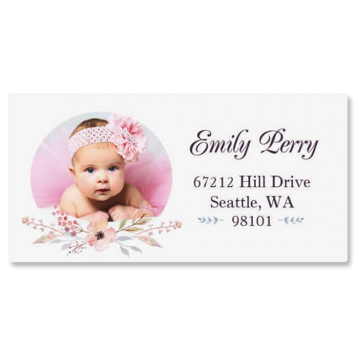 Floral Cameo Photo Personalized Address Labels