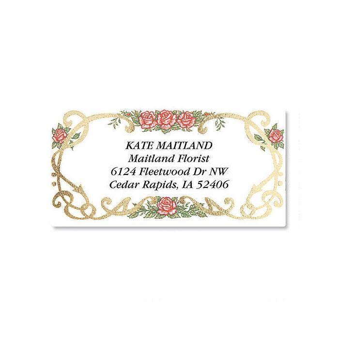 Rose Grandeur Foil Border Address Labels