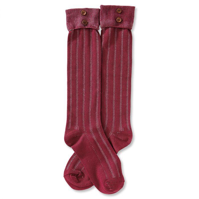 Boot Socks - Burgundy Rolled Cuff