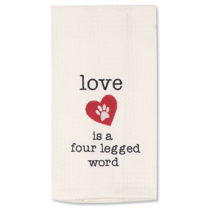 Love Embroidered Pet Waffle Towel