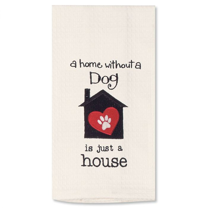 Dog House Embroidered Pet Waffle Towel