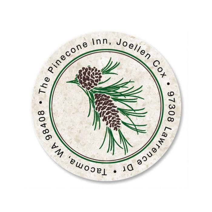 Pinecone Round Address Label