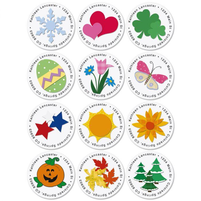 Year Round Round Address Labels  (12 designs)