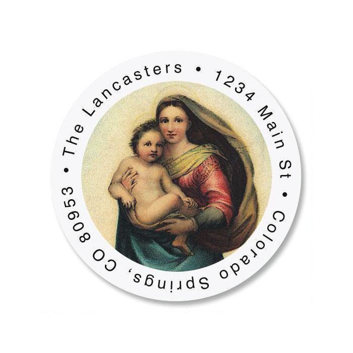 Madonna & Child Christmas Round Address Label