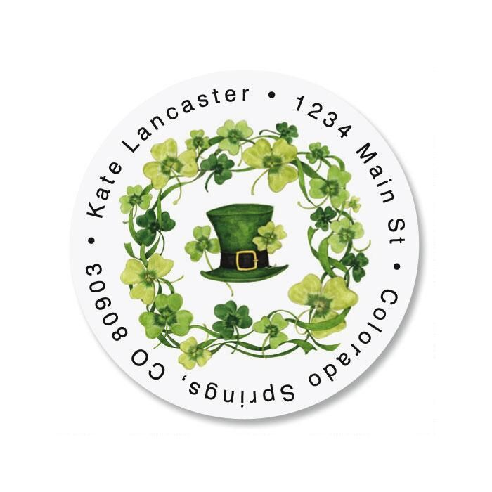 St. Pat's Day Round Address Labels