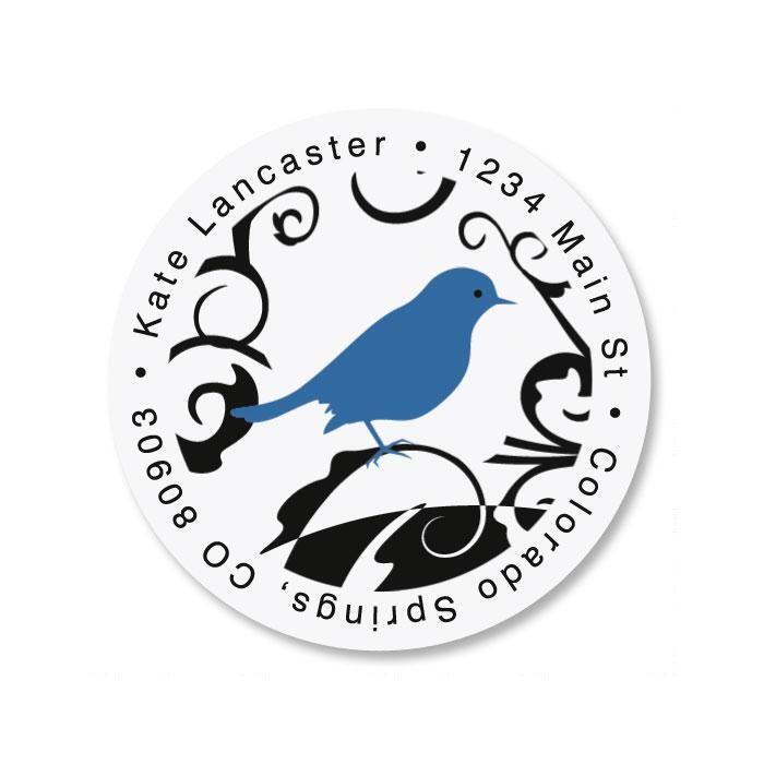 Distinctive Bird Round Address Label