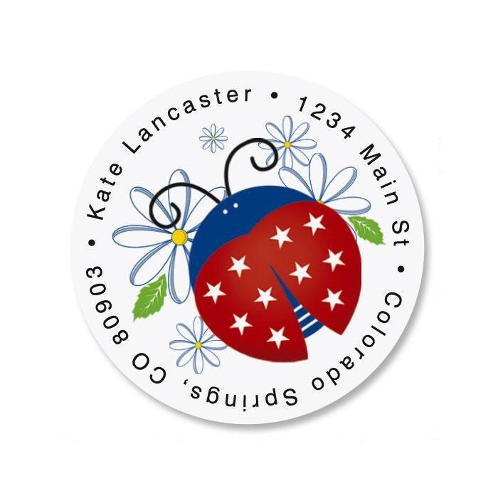 Patriotic Ladybugs Round Address Label