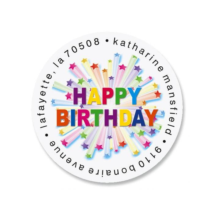 Birthday Star Round Address Labels
