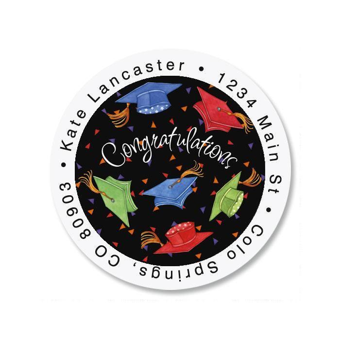 Cap Celebration Round Address Labels