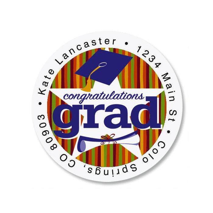Graduation Star Round Address Labels