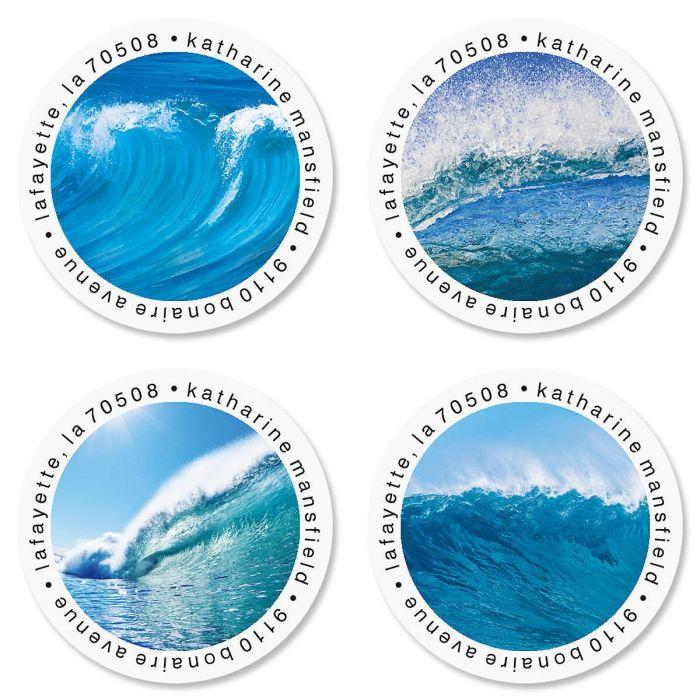 Energetic Ocean Round Address Labels  (4 Designs)
