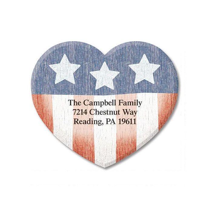 Americana Heart Diecut Address Labels