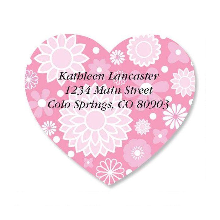 Flower Heart Diecut Address Labels