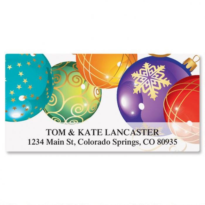 Candy Colored Ornaments Deluxe Address Labels