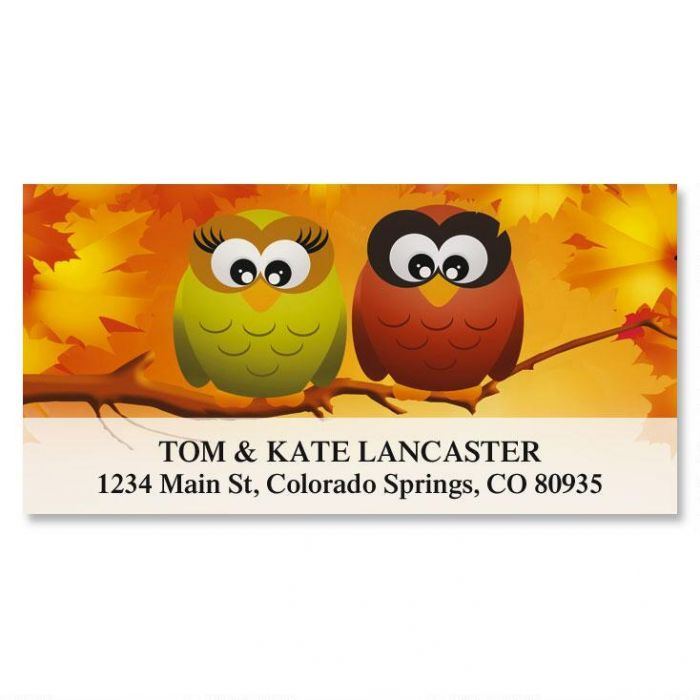 Owls in Autumn Deluxe Address Labels