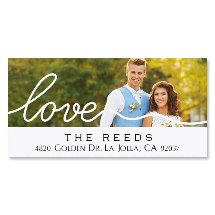 Love White Caption Deluxe Photo Personalized Address Labels