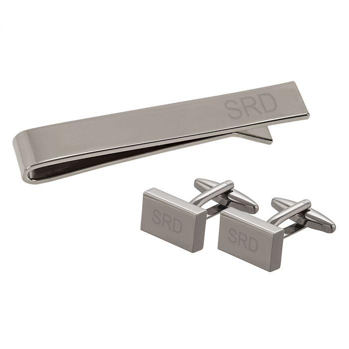 Personalized Gunmetal Cuff Link & Tie Clip Set