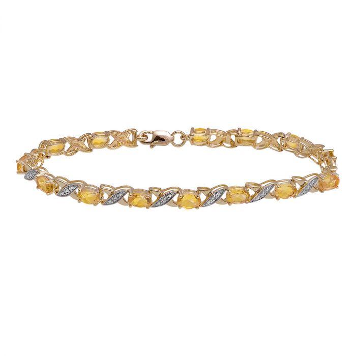 Diamond Accent and Oval Birthstone Bracelet