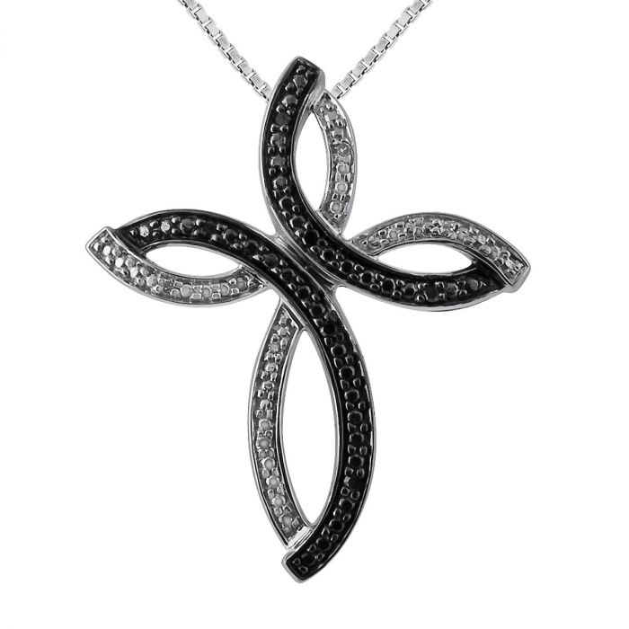 """Black and White Diamond Accent Cross Pendant with 18"""" Chain"""